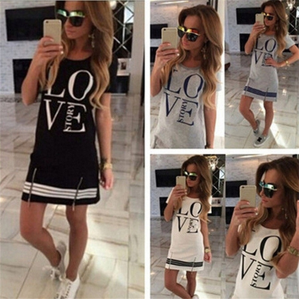 Love, Long T-Shirt, letter print, Dresses