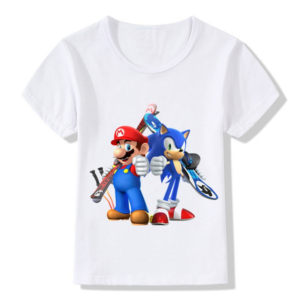 f5d1bbeb Children Sonic The Hedgehog With Mario Cartoon Design Funny T-Shirts Kids  Baby Cute Clothing Boys Girls Casual Tops Tees | Wish