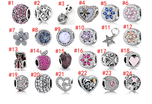 Fashion Accessories DIY 24 Style Hole Diameter 5mm High Quality 925 Silver Plating LOVE Heart Apple Snowflake Star Beach Sunny Ocean Fish European Bead Pendant CZ Charm Clip Safety Stopper Spacing Beads Fit Women Pan Bracelets Bangle Necklace
