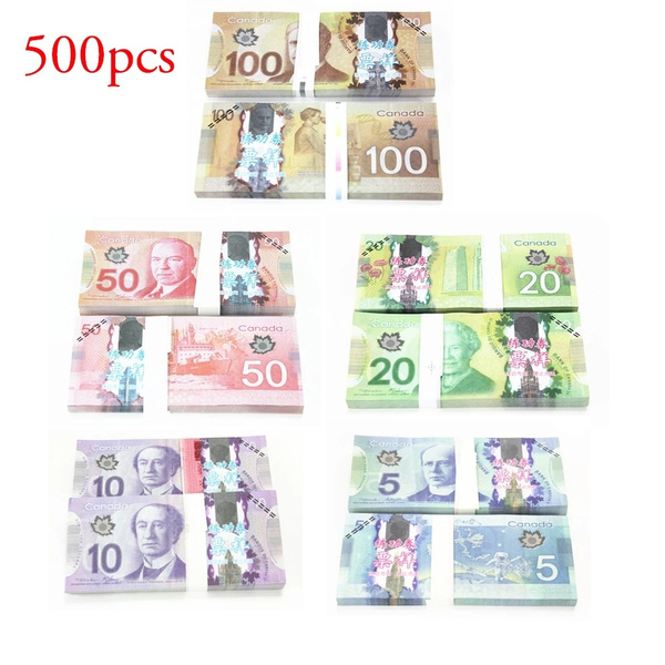 500PCS Paper Money Canadian Dollar Collection Bills 100 50 20 10 5 Cad  Canada Training Tool Souvenir Collect Fake Money Learning Banknotes World