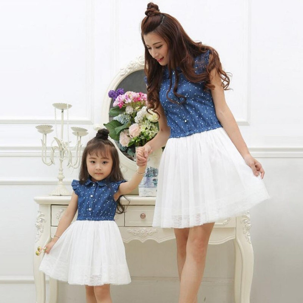 Mother And Daughter Lace Dress Matching Women Kid Girls Casual Family Clothes