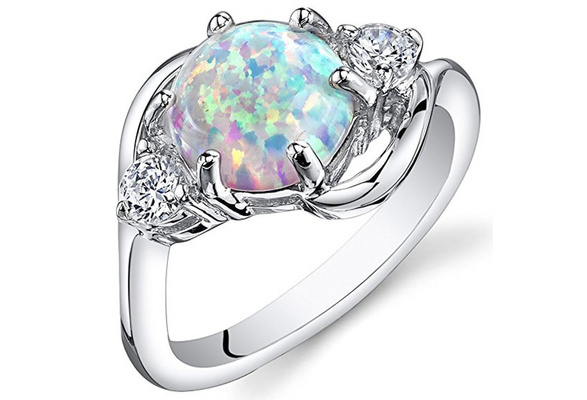 Created Opal Ring Silver 3 Stone 1.75 Carats Sizes 5 to 10 ( Blue / White )