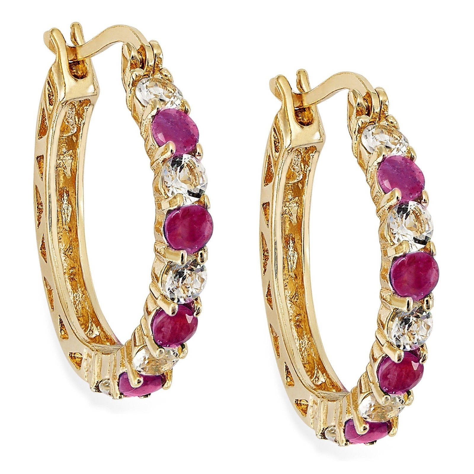 fashion jewelry 14k real gold plated ruby with emerald ear. Black Bedroom Furniture Sets. Home Design Ideas