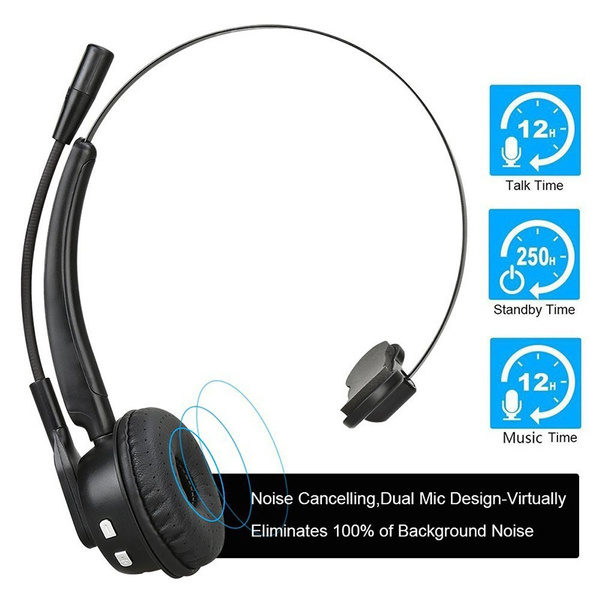 Truck Driver Bluetooth Headset Office Wireless Headphones Mic Noise Canceling Headset With Microphone For Call Center Cell Phone Laptop Wish