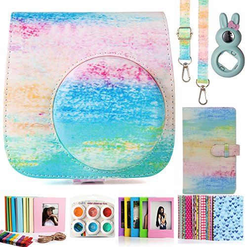 Compatible Mini 9 Camera Case Bundle With Album Rainbow Mist , Filters & Other Accessories For Fujifilm Instax Mini 9 8 8+ (Rainbow Mist, 7 Items) by Wish