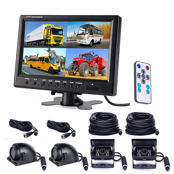 "4Pin 7/"" LCD Car Reversing Monitor IR Backup Rear View Camera for Bus RV Truck"