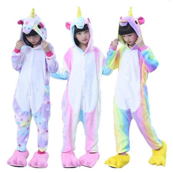 Kids Girls Boy Cosplay Costume Rainbow Unicorn Pajamas Kigurumi Animal Sleepwear