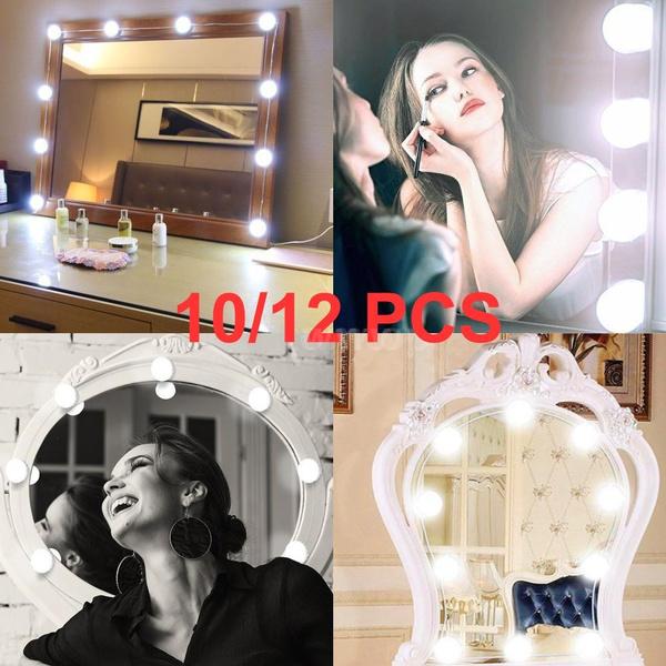 10pcs Makeup Mirror Vanity Led Light Bulbs Lamp Kit Make Up Mirrors Cosmetic Lights 3 Levels Brightness Adjustable For Make-up Lights & Lighting