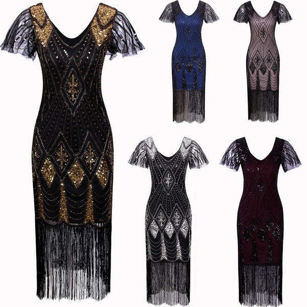 Sequins Dress Women\'s 1920s Gatsby Inspired Sequin Beads Long Fringe  Flapper Dress With Sleeves Plus Size Women\'s 1920s Gatsby Inspired Sequin  Beads ...