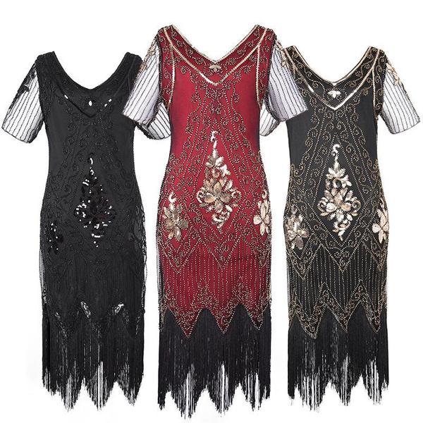 Vintage Retro Dress Party Prom Special Occasion Ladies 20s 30s 1920s  Roaring Flapper Costume Sequin Gatsby Fancy Dress Plus Size Women\'s 1920s  Dresses ...