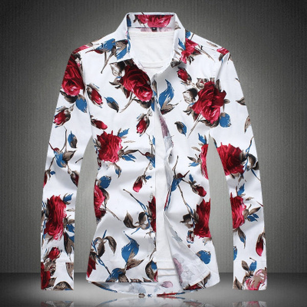 Luxury Brand Men Shirts 2018 Fashion Man Shirts Long Sleeve Unique Design Flower Shirts Men Casual Chemise Homme Slim Fit Shirt Zm Wish