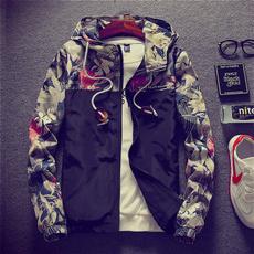 casual coat, hooded, Coat, Patchwork