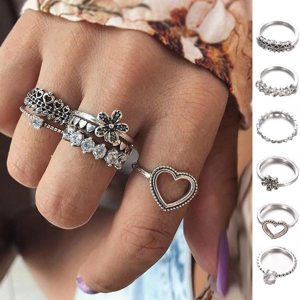Heart, Flowers, Love, Women Ring