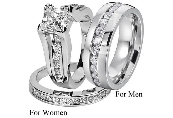Women Irish Claddagh Friendship Heart Created Blue Sapphire Bridal Rings Set Men Cubic Zirconia Wedding Engagement Band Ring