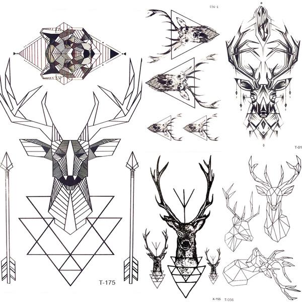 5pieceslot Geometric Elk Wolf Temporary Tattoo Women Body Hands Arm Art Moose Deer Tattoo Stickers Men Triangle Water Transfer Tatoos Arrow