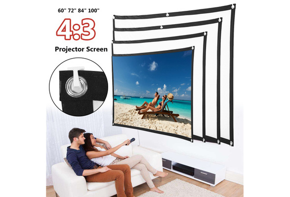 Projector Screen 60-100 inch Polyester HD 4:3 Home Outdoor Cinema 3D Film Projection For Home Office