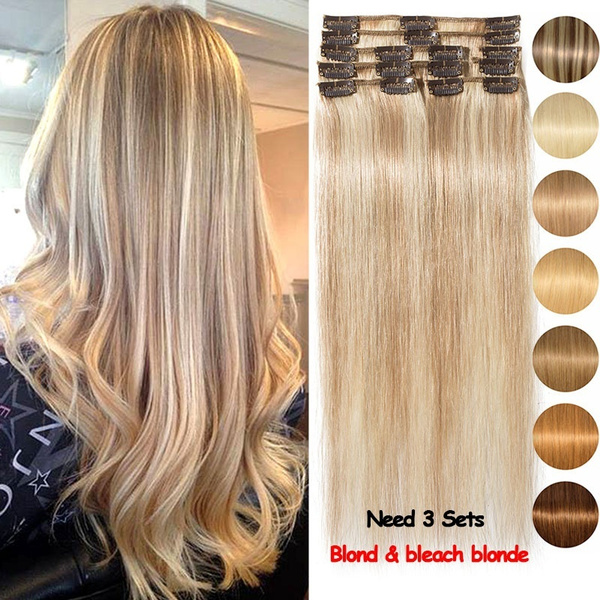 Geek 8 Pieces 18 Stable Clips Healthy Human Hair Extensions Use 4