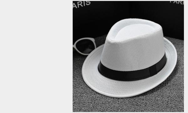 c57e99361 2018 Fashion Classic Mens Women Straw Fedora Hat Wide Brim Panama ...