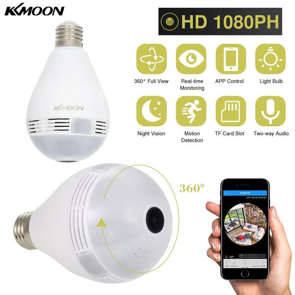 KKmoon Wireless 1080PH(1072*1072) Mini Panoramic Fish Eye WIFI 360 Degree  Camera LED Light Bulb IP Camera IR Lamp Night Vision IR-CUT Support for