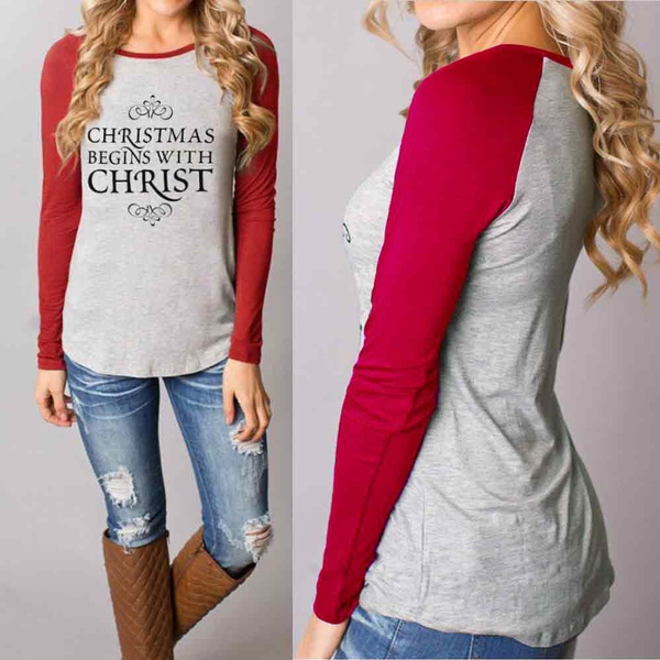 Women Fashion Christmas Round Collar Cotton Long Sleeve Casual Tops by Wish