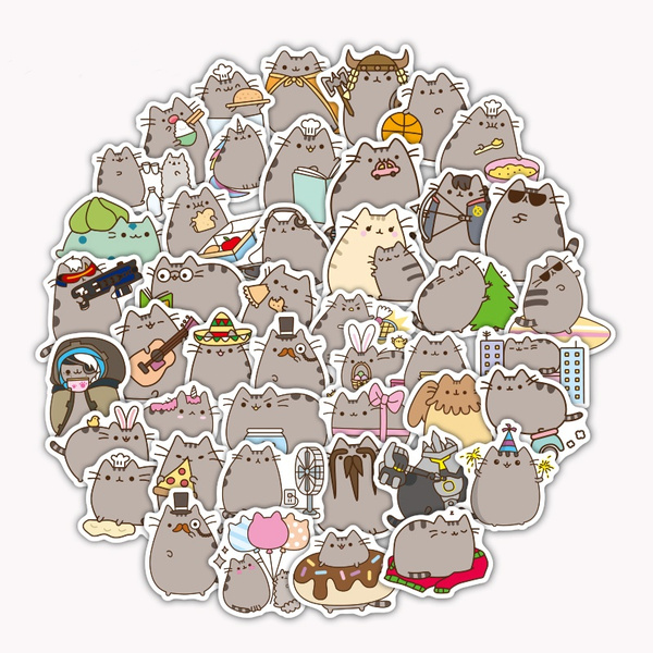100 Pcs Lot Cartoon Pusheen Cat Cute Stickers For Tab Phone Laptop