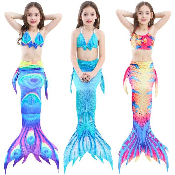 3d0a8b52b2048 Kids Girls Mermaid Tail Monofin Bikini Swimwear Swimming Costume ...