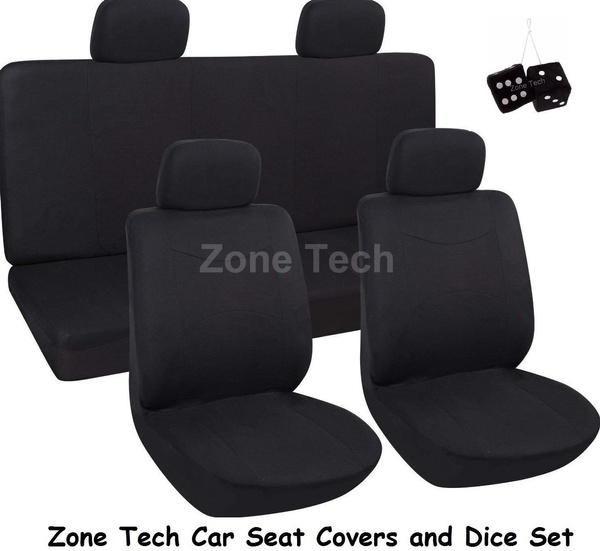 Sensational Zone Tech 8Pc Black Integrated Matching Bench High Back Seat Covers And Dice Set Machost Co Dining Chair Design Ideas Machostcouk