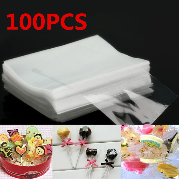 100pc Clear Party Gift Chocolate Lollipop Favor Candy Cello Bags Cellophane new