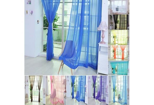 1 PCS Pure Color Tulle Home Door Window Curtain Drape Panel Sheer Scarf Valances