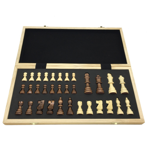 Chess Wooden Folding Chessboard With Magnetic Travel Game Board Size 39 4  cm x 39 cm Large Chess Tournament Set Children Gift
