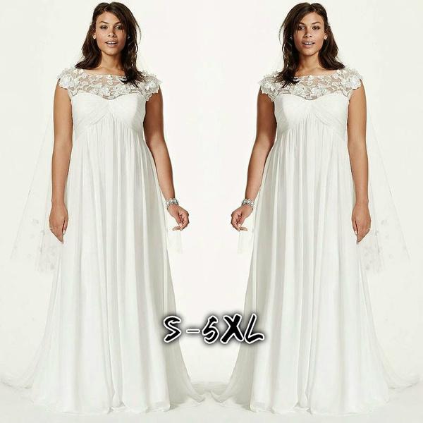 Women Maxi Dress White Lace Elegant Dress Fashion Wedding Dress Plus Size  Only Dress NB0308