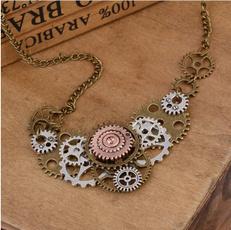 steampunknecklace, Jewelry, gearnecklace, gearspendant