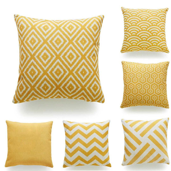 decoration, mustard, yellowgeometriccushioncover, yellowgeometricpillowcase