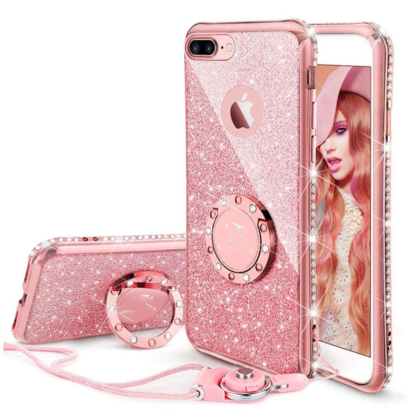 size 40 e7392 e1565 Glitter Cute Phone Case Girls with Ring Kickstand Bling Diamond Rhinestone  Shockproof TPU Bumper Case Cover for iPhone ...