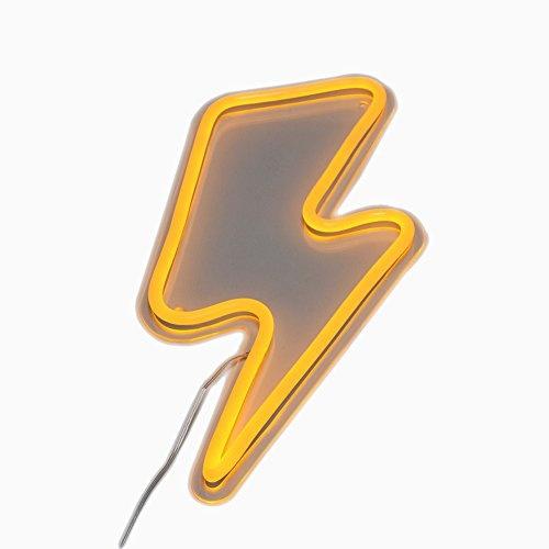 Lightning Bolt Neon Art Sign Lightning LED Neon Signs Handmade Visual  Artwork Home Wall Decor Light For Kids Room Designed By Vasten (Yellow)