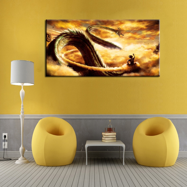 Sensational Home Decor Wall Art Painting Dragon Ball Goku Fly With Dragon Canvas For Kids Room Decor Home Decoration Canvas Print Poster No Frame Gamerscity Chair Design For Home Gamerscityorg