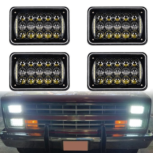 Dot approved 4x6 inch LED Headlights Rectangular Replacement H4651 H4652 H4656 H4666 H6545 for Peterbil Kenworth Freightinger Ford Probe Chevrolet Oldsmobile Cutlass 4pcs