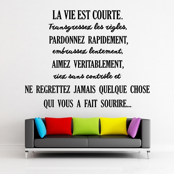 French Citation La Vie Est Courte Removable Vinyl Wall Sticker Mural Decals Wall Art Wallpaper Living Room Home Decor Decoration