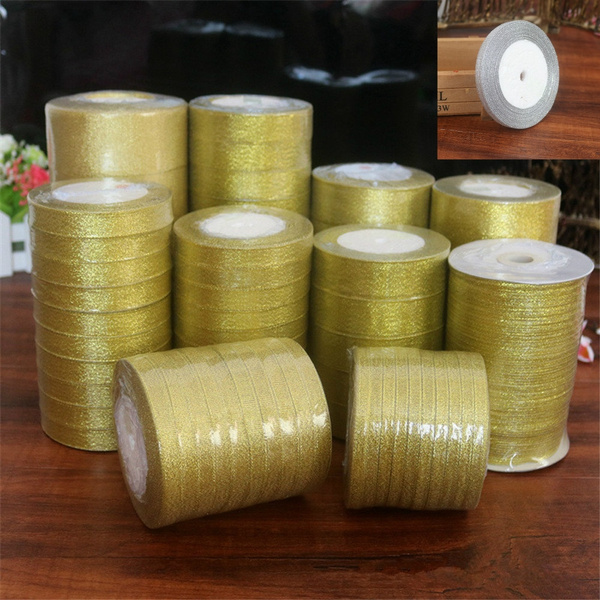 Silver//Gold Silk Satin Ribbon Party Home Wedding Decoration Gift Wrapping
