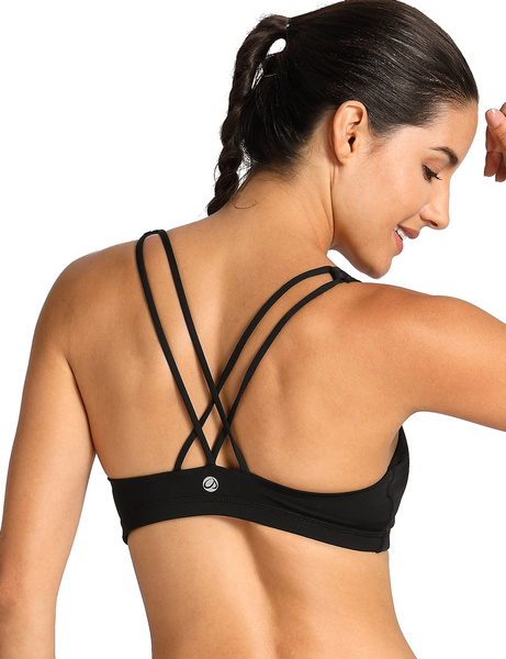 462ce7ce816 CRZ YOGA Women s Light Support Cross Back Wirefree Removable Cups ...