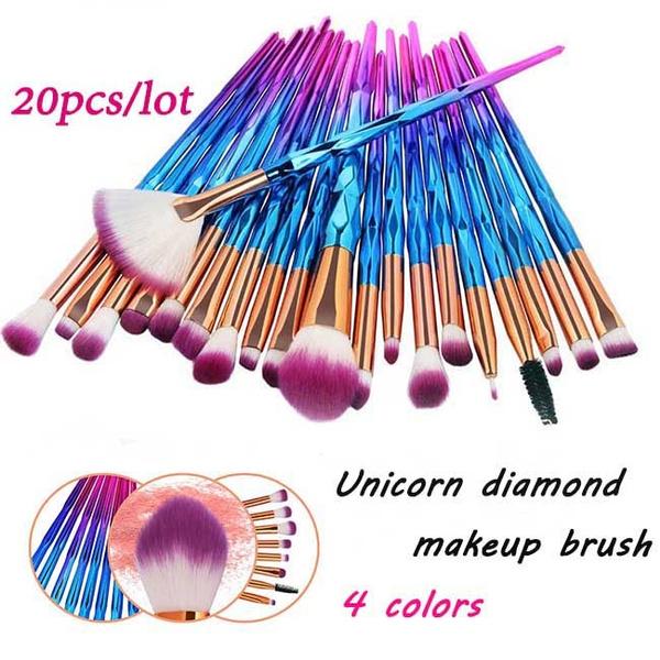 4e8499dd9bfd 1Set 20styles Gold/Blue/Purple/Pink Diamond Unicorn Professional Makeup  Brushes Foundation Powder Brush Eyeshadow Eyebrow Brush Women Beauty Make  Up ...