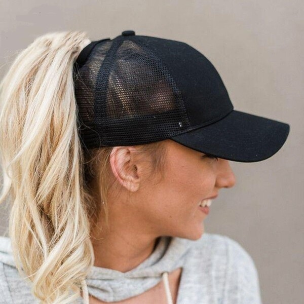 b49f5a9b1082d 2018 Ponytail Baseball Cap Women Messy Bun Baseball Hat Snapback Sun ...