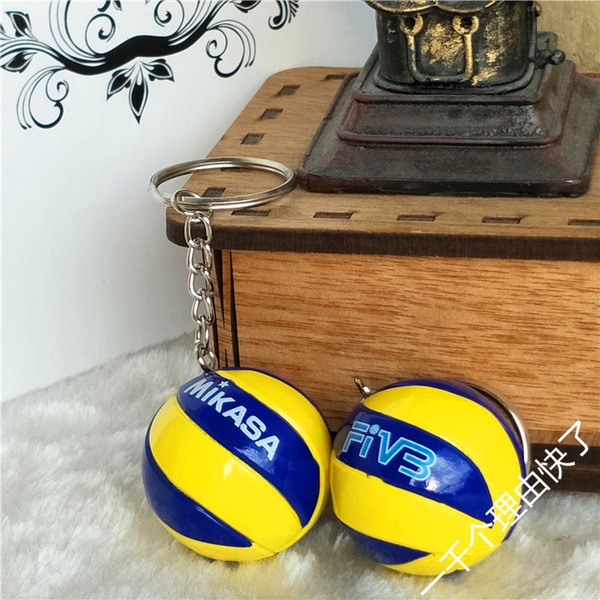 2018 New Fashion 1 Pc 19 Color Leather Volleyball Keychain Business Birthday Pvc Gifts Top Football Beach Ball Metal Key
