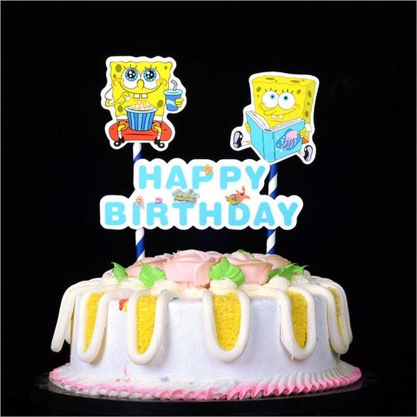 Tremendous 1Set Diy Cartoon Spongebob Squarepants Happy Birthday Cake Topper Birthday Cards Printable Inklcafe Filternl