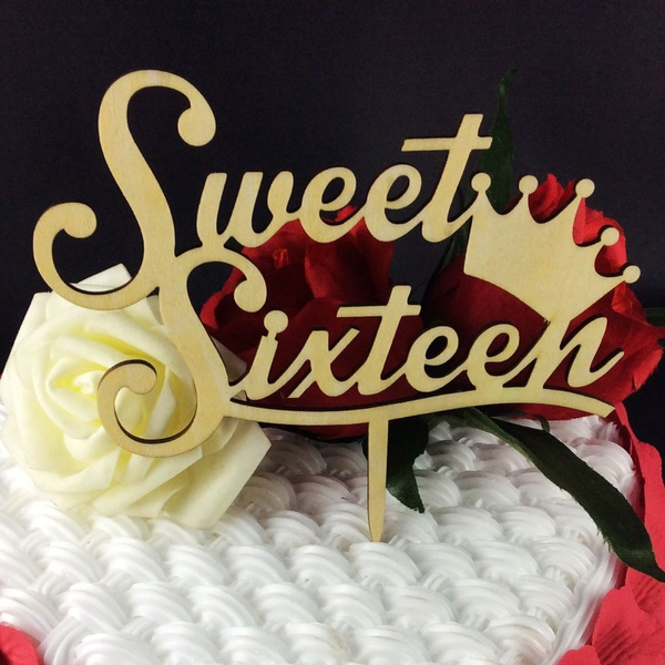 Wish 1pc Sweet Sixteen Crown Wooden Cake Topper Cake Picks For