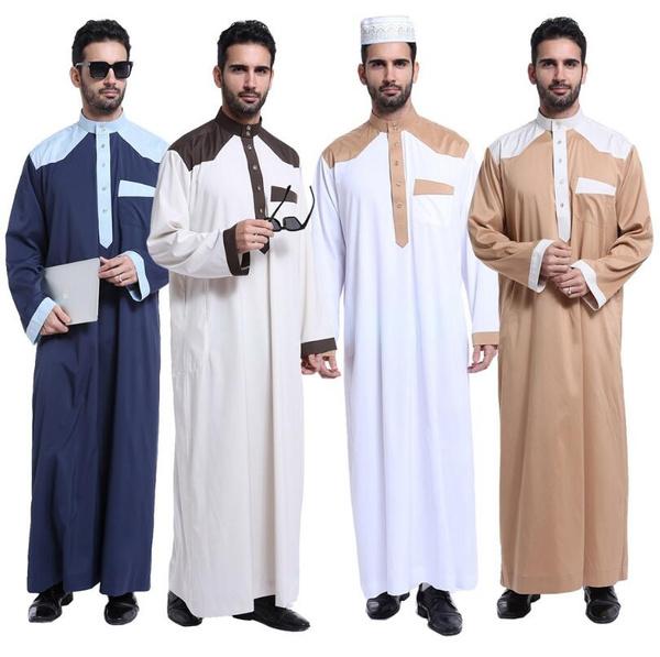 d7b6ab660f Fashion Muslim Clothing for Men Mens Kaftan Jubba Thobe White Abaya Arab  Clothing Man Islamic Clothing Ropa Arabe Hombre