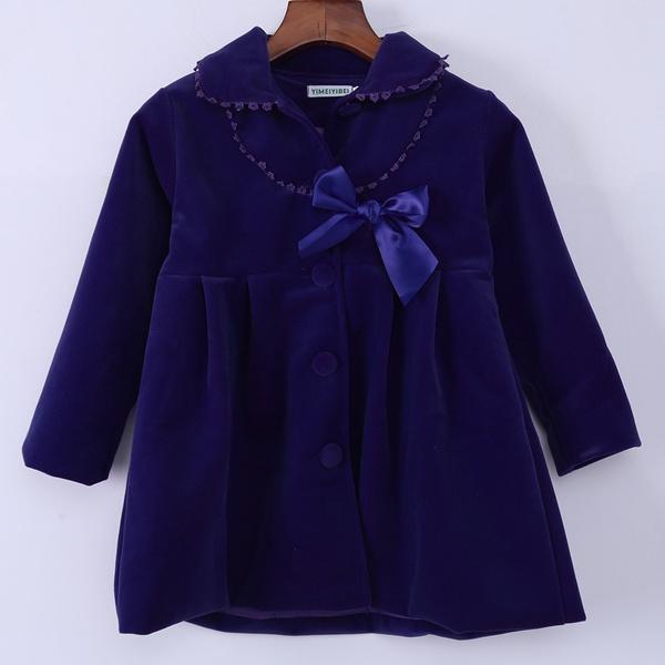New Kids Girls Winter Clothes Fleece Outerwear Long Trench Wind Coat Jacket 2~7Y