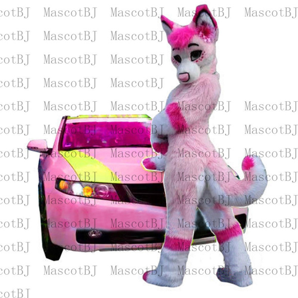 Pink Husky Dog Mascot Costume Wolf Fox Character Costume Fancy Cosplay Dress