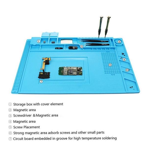 Magnetic Heat-resistant Soldering Mat Silicone Heat Gun BGA Soldering  Station Insulation Pad Repair Tools Maintenance Platform
