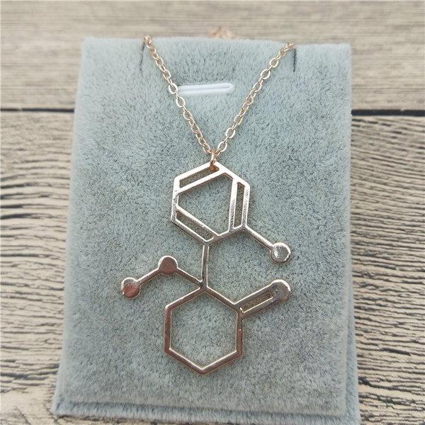 Wish New Trendy Small Ketamine Molecule Necklace In Rectangle